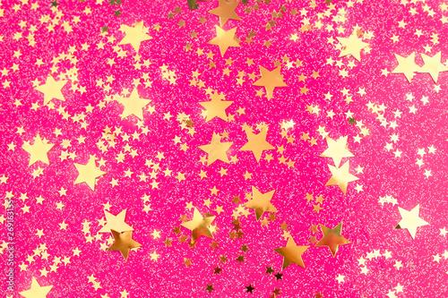 Carta da parati Golden star confetti on pink fuchsia background