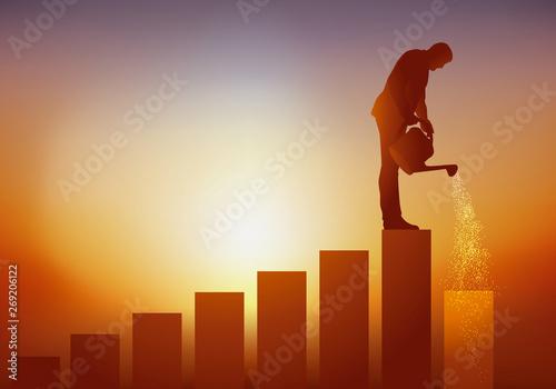 Fototapeta Concept de l'évolution de carrière et de la progression sur l'échelle sociale av