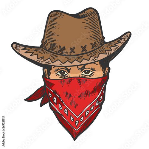 Fotografia Cowboy head in bandit gangster mask bandana color sketch line art engraving vector illustration
