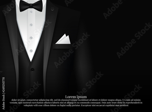 Canvas Print Black Suit and Tuxedo with bow tie