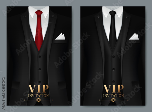 Photo Vector illustration of Set of business card templates with suit and tuxedo