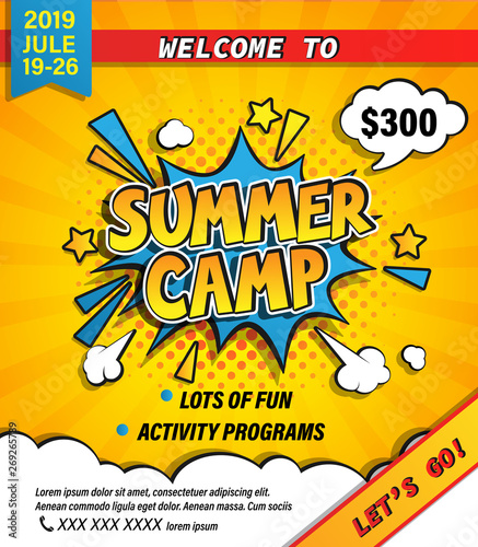 Fotografia Summer camp invitation banner with handdrawn lettering in comic speech bubble on halftone background