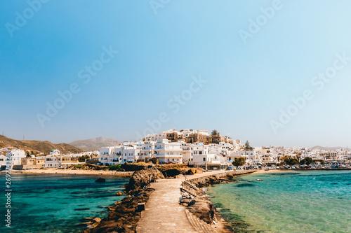 Fotografie, Obraz Cityscape of Naxos town on a sunny day, Naxos, Greece