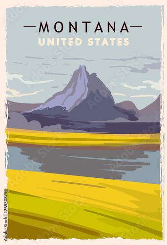 Montana retro poster. USA Montana travel illustration.