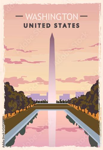 Obraz na plátne Washington monument retro poster