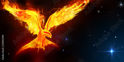 Fotografie, Obraz Phoenix journey in space art