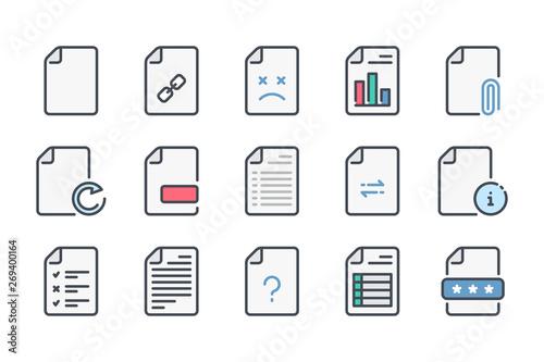 Fotografie, Tablou Document related color line icon set