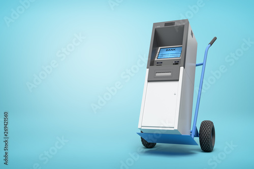 Foto 3d rendering of blue hand truck with grey and white ATM on top on light-blue background with copy space