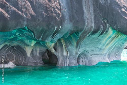 Leinwand Poster Marble Cathedral of lake General Carrera,  Chilean Patagonia