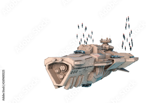Платно alien mothership sending missile in a white background