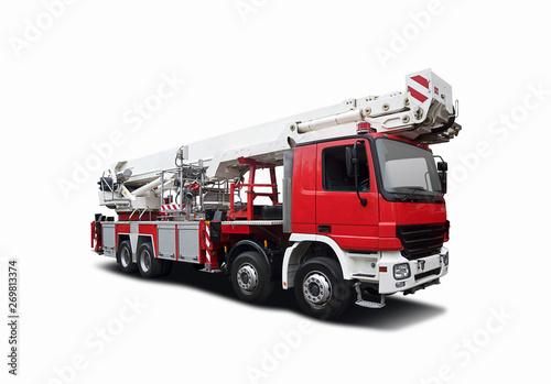 Fototapeta Big Fire truck crane isolated on white