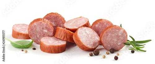 Fotografia sliced smoked sausage