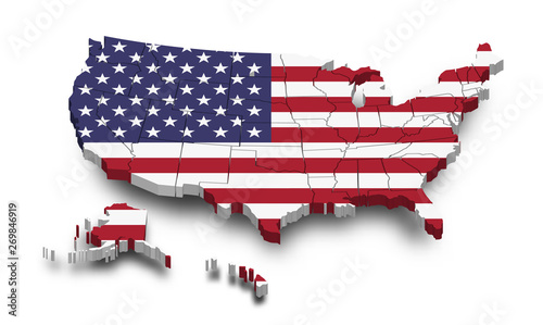 United states of america map and flag . 3D shape design . Independence day of USA concept . Perspective view . Vector