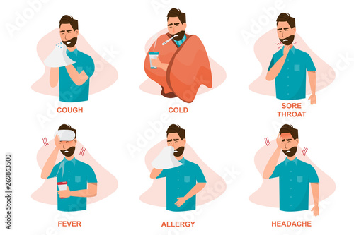 Stampa su Tela Set of sick people feeling unwell, cough, having cold, sore throat, fever, aller