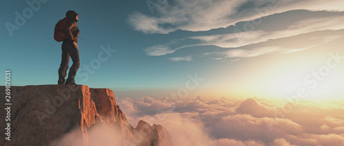 Tablou Canvas Climber on top of a mountain