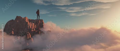 Fotografia, Obraz Climber on top of a mountain