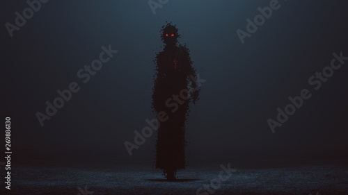 Foto Futuristic Cyber Punk Demon Digital Virus in a Pantsuit Walking Formed out of lo