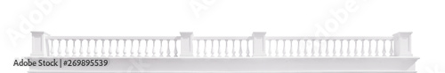 Photo Long white balustrade isolated with clipping path