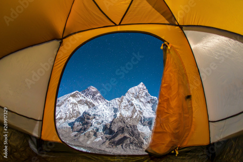 Photo View from inside the tent of the Himalayan landscape