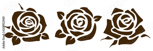 Vector rose icon. Set of decorative flower silhouettes for your design