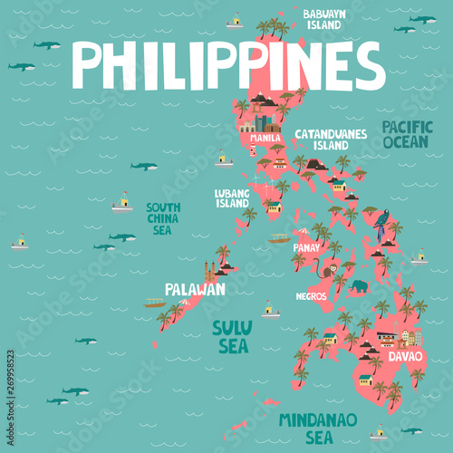 Photo Illustrated map of Philippines with cities and landmarks