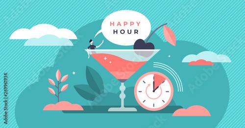 Tablou Canvas Happy hour vector illustration