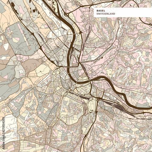 Photo Map of Basel Switzerland
