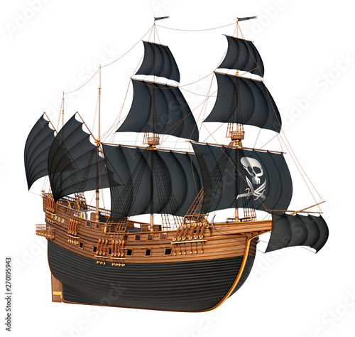 Fotografia Old sailing pirate ship with black sails and a skull with daggers