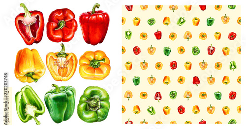 Green, yellow, red  bell peppers isolated on white background Fototapete