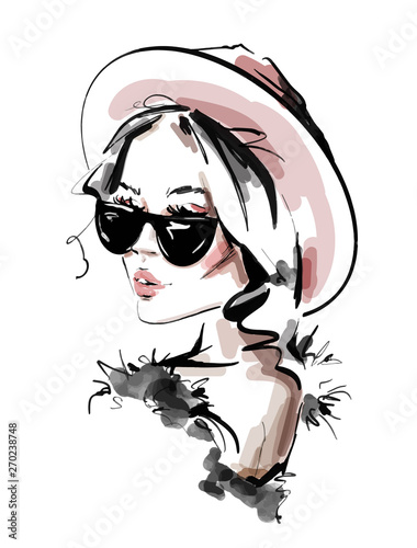 Hand drawn beautiful young woman in sunglasses. Stylish elegant girl. Fashion woman look. Sketch. Vector illustration.