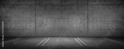 Canvas-taulu Dark Garage Car Parking Background Concrete Wall with Floor