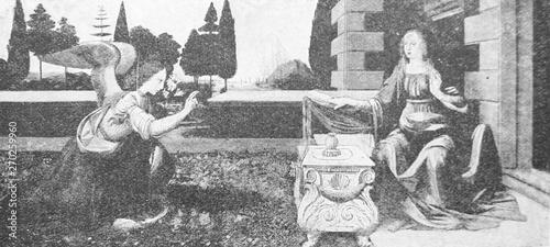 Obraz na plátně Annunciation  by Leonardo da Vinci in the vintage book Leonardo da Vinci by A