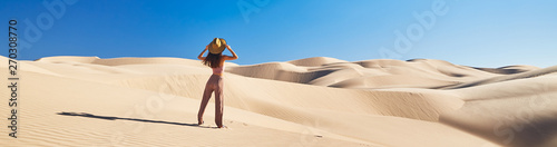 Canvas-taulu panoramic photo of lone woman standing in sand dunes with blue sky