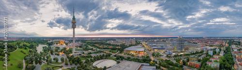 Obraz na plátne Drone aerial view of Olympiapark and Munich.