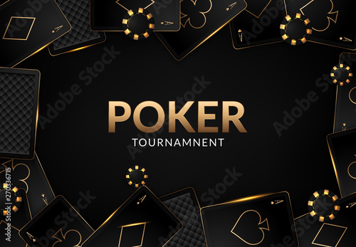 Canvas Print Playing cards and poker chips casino concept on dark background