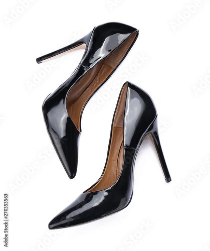 Fotografia, Obraz Pair of stylish high-heeled female shoes on white background