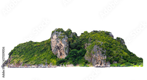 Fotografía isolated green mountain and cliff rock