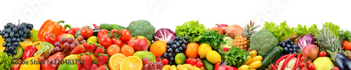Fruits and vegetables isolated on white. Wide panoramic photo for title.