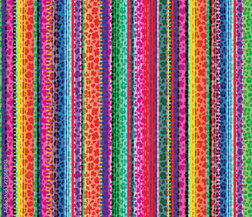 Fotografie, Obraz Colorful seamless mexican style and leopard pattern, serape stripes background