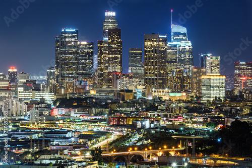 Valokuvatapetti Downtown Los Angeles skyline at night