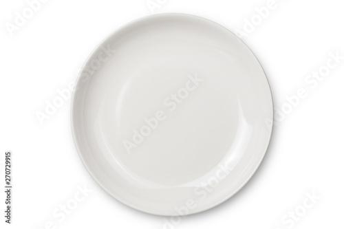 Fototapeta Empty ceramic round plate isolated on white background