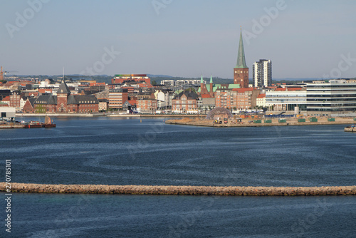 Photo Sea gulf and city. Aarhus, Jutland, Denmark