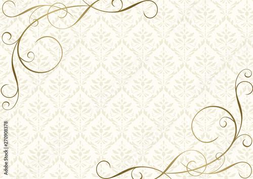 Tela クリーム色のダマスク柄と金のツタアンティーク背景