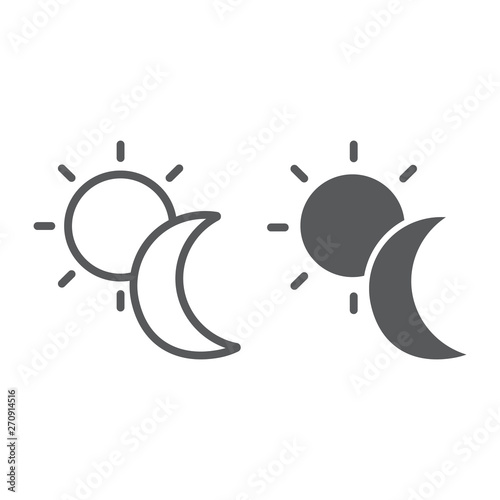 Sun and moon line and glyph icon, weather and nature, day and night sign, vector graphics, a linear pattern on a white background.