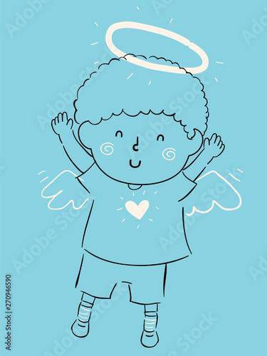 Fototapeta Kid Boy Little Angel Illustration