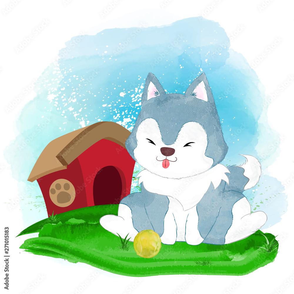 Cute and adorable watercolor husky <span>plik: #271015183 | autor: Rikugo</span>