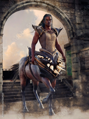 Fantasy centaur warrior holding two swords and standing in front of a stone gate. 3D render. The model in the image is a 3D object.