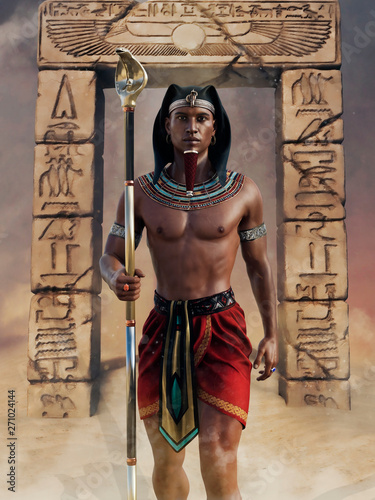 Wallpaper Mural Ancient Egyptian priest with a cobra staff standing in front of an arch with hieroglyphs