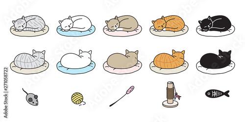 Wallpaper Mural cat vector kitten calico icon logo sleeping pillow symbol cartoon character dood