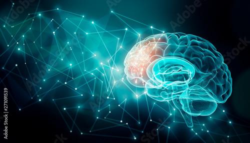 Leinwand Poster Human brain activity with plexus lines